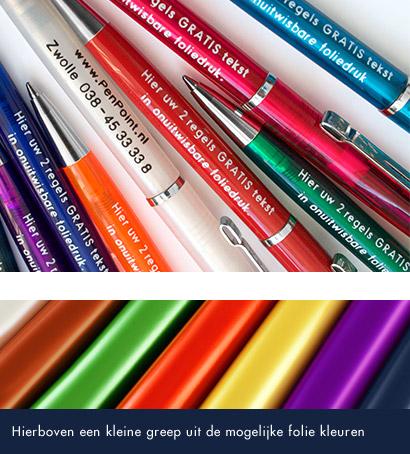 voorbeeld kleuren bedrukte pennen