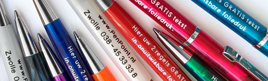 pennen bedrukken met 2 regels gratis tekst